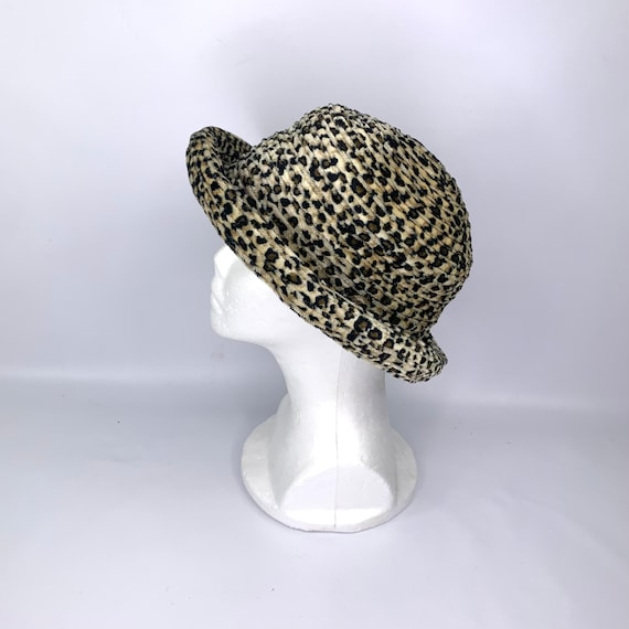 unstructured cheetah print velour hat 1990s vintage bucket hat