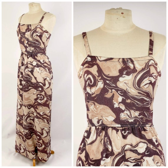 marble print column maxi dress 60s to 70s vintage
