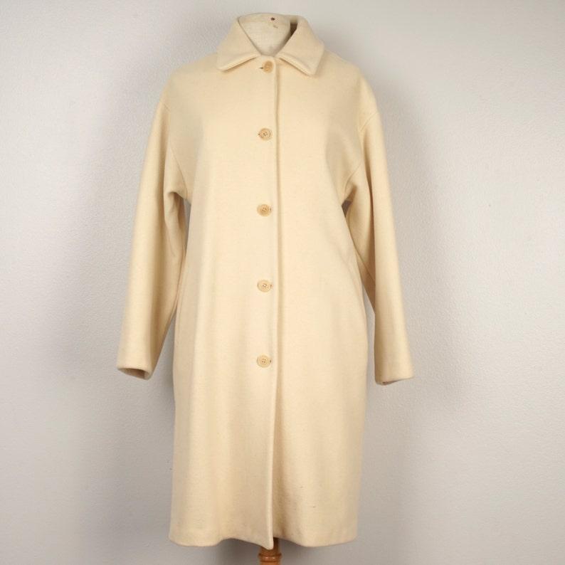 Sisley Italy Ladies Winter White Wool Coat 80s Vintage Cream  4b40e5ae4