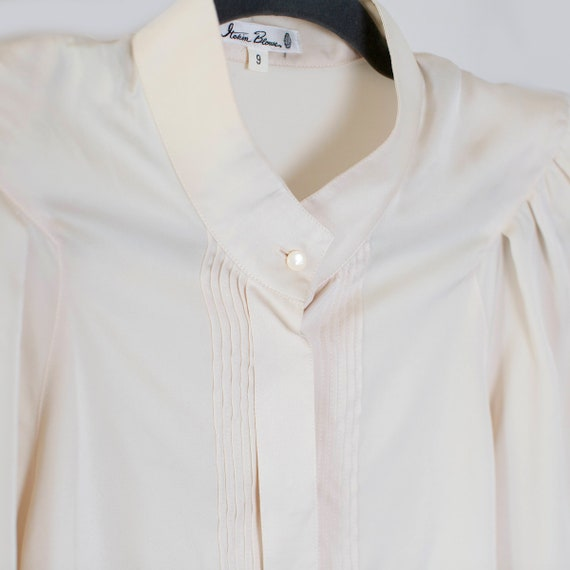 ivory white silk mandarin collar pleated blouse H… - image 3