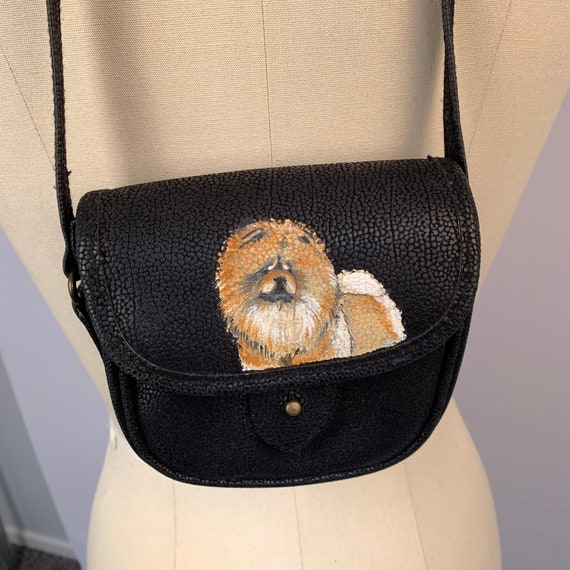 chow chow dog hand painted crossbody bag purse