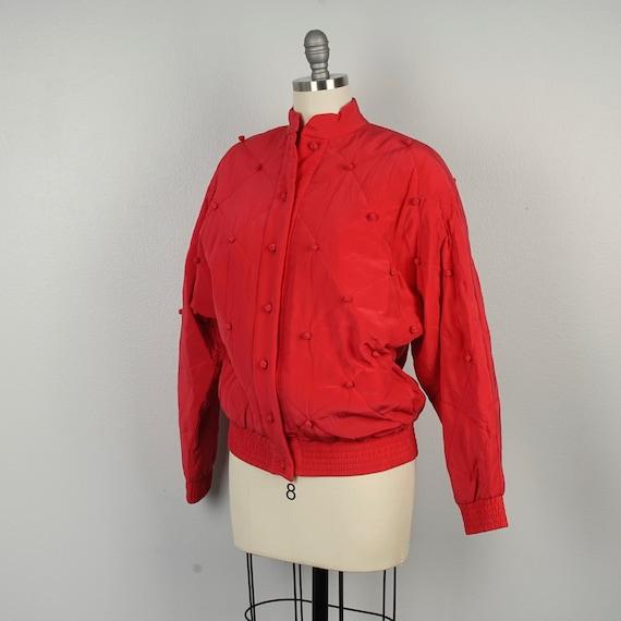 red silk diamond jacket 90s oversize bomber with … - image 7