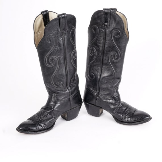850c562b88a 80s Vintage Black Hondo Cowboy Boots Tall Western Boots 8.5