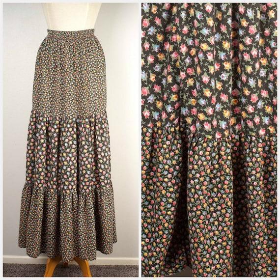 66830cf7d7b black floral maxi prairie skirt 70s boho hippie peasant long
