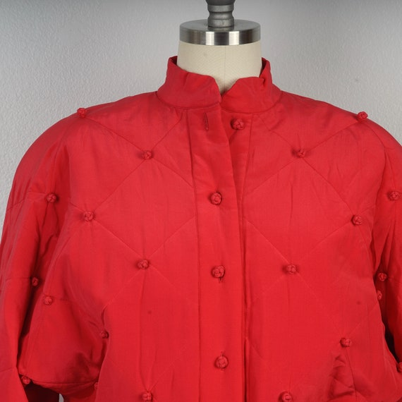 red silk diamond jacket 90s oversize bomber with … - image 3