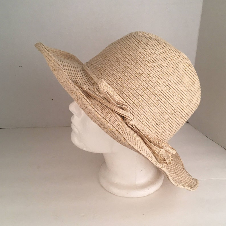 24153ec099918 Crushable Tan and Gold Poly Straw Hat adjustable brim light