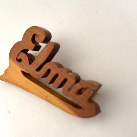 Elma 30s vintage carved wood name brooch