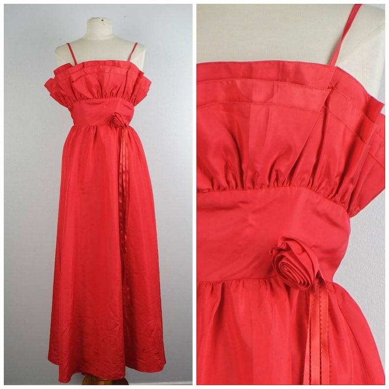 2daf388fd66 Red taffeta ruffle bodice 80s vintage prom dress long maxi