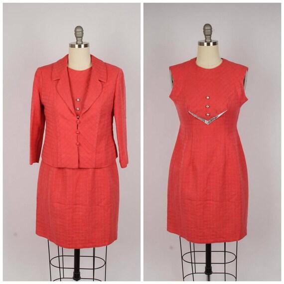 coral pink wool knit dress suit 60s vintage sleeve