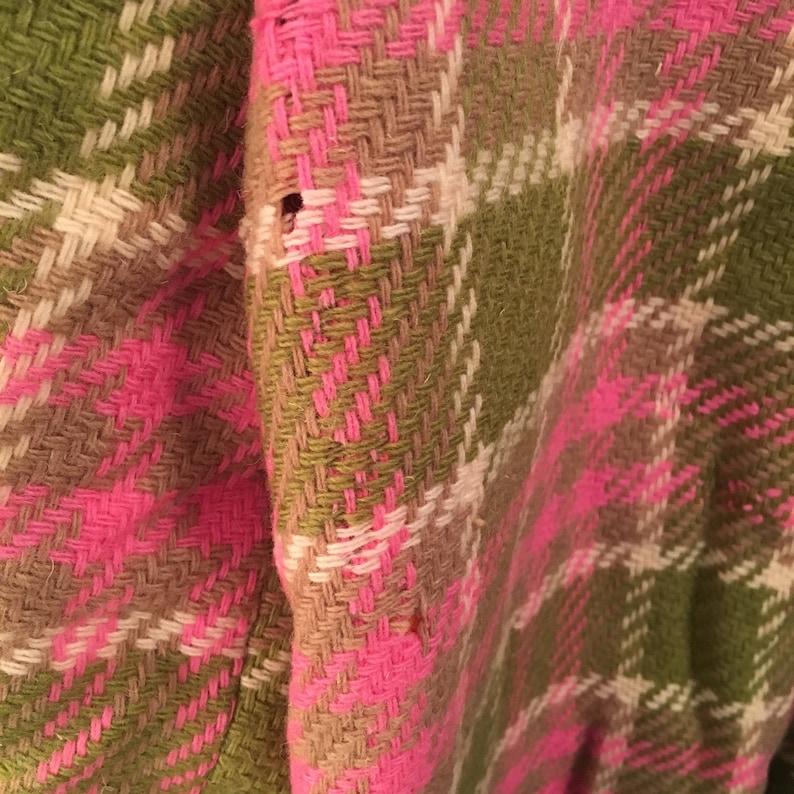 Bobbie Brooks pink and green plaid wool blazer 60s to 70s vintage ladies preppy cropped jacket