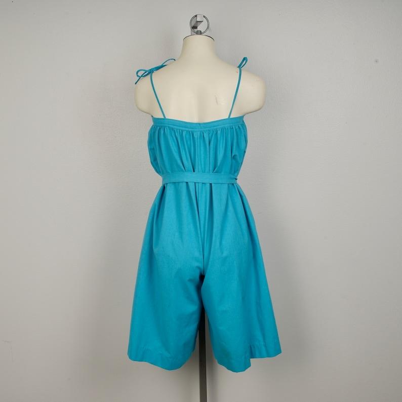 80s over sized blue romper size 48 bust shorts large xl cotton jumpsuit adult short set womens ladies onesie maternity oversized xxl