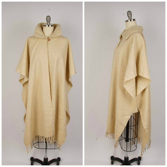 long natural wool poncho with hand knit collar 70s