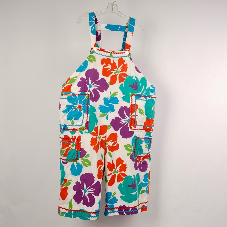 Mod floral Clown Suit overalls with ruffly top large one size