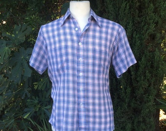 Red White Blue Plaid Short Sleeve Button Up Shirt 60s 70s Vintage Medium 15 Slim Fit Men Women