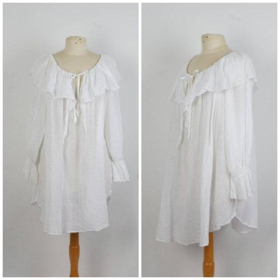 long sheer white peasant blouse 80s ruffle smock t