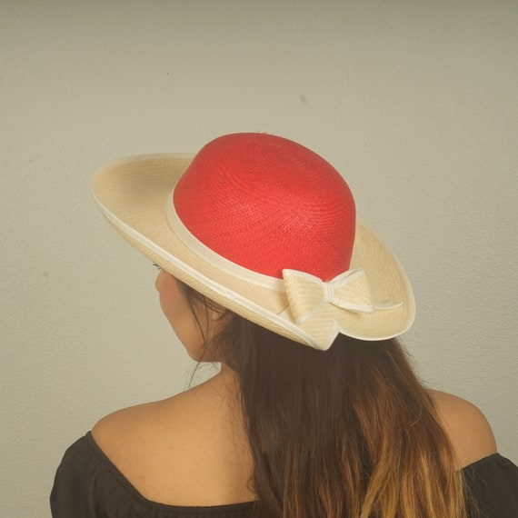 eee4d035af2 Red and White Wide Brim Dressy Sun Hat with Bow 80s 90s