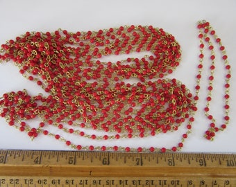 don't miss this Gigantic Sale,  60 feet of vintage Japan gold plate over brass CHAIN with 3mm RED accents  , the WOW  factor