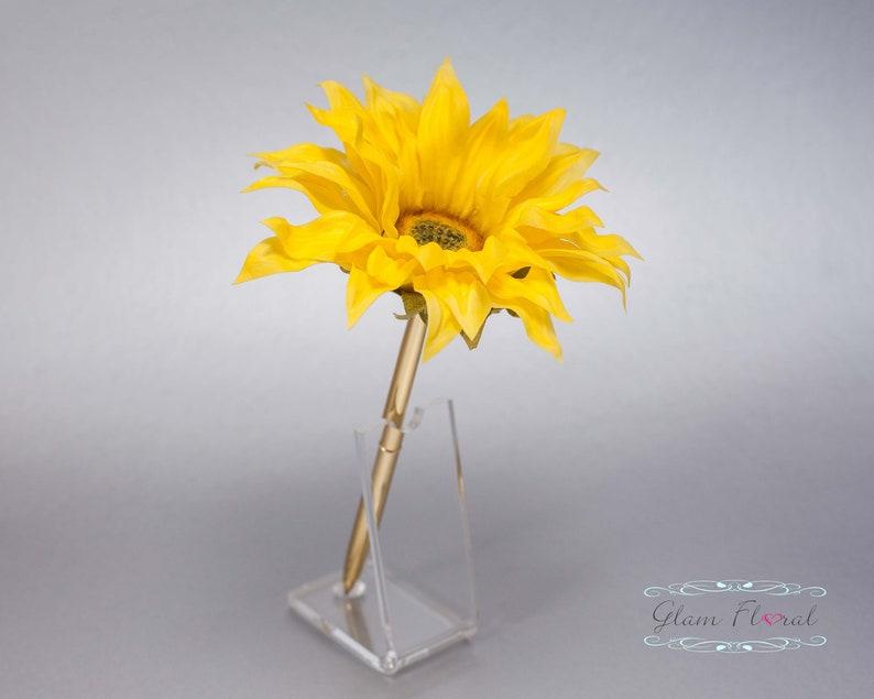 Wedding Pen Holder Yellow Wedding Pen Yellow Sunflower Pen Real Touch Flowers Gold Wedding Pen Set Sunflower Rose Guestbook Pen