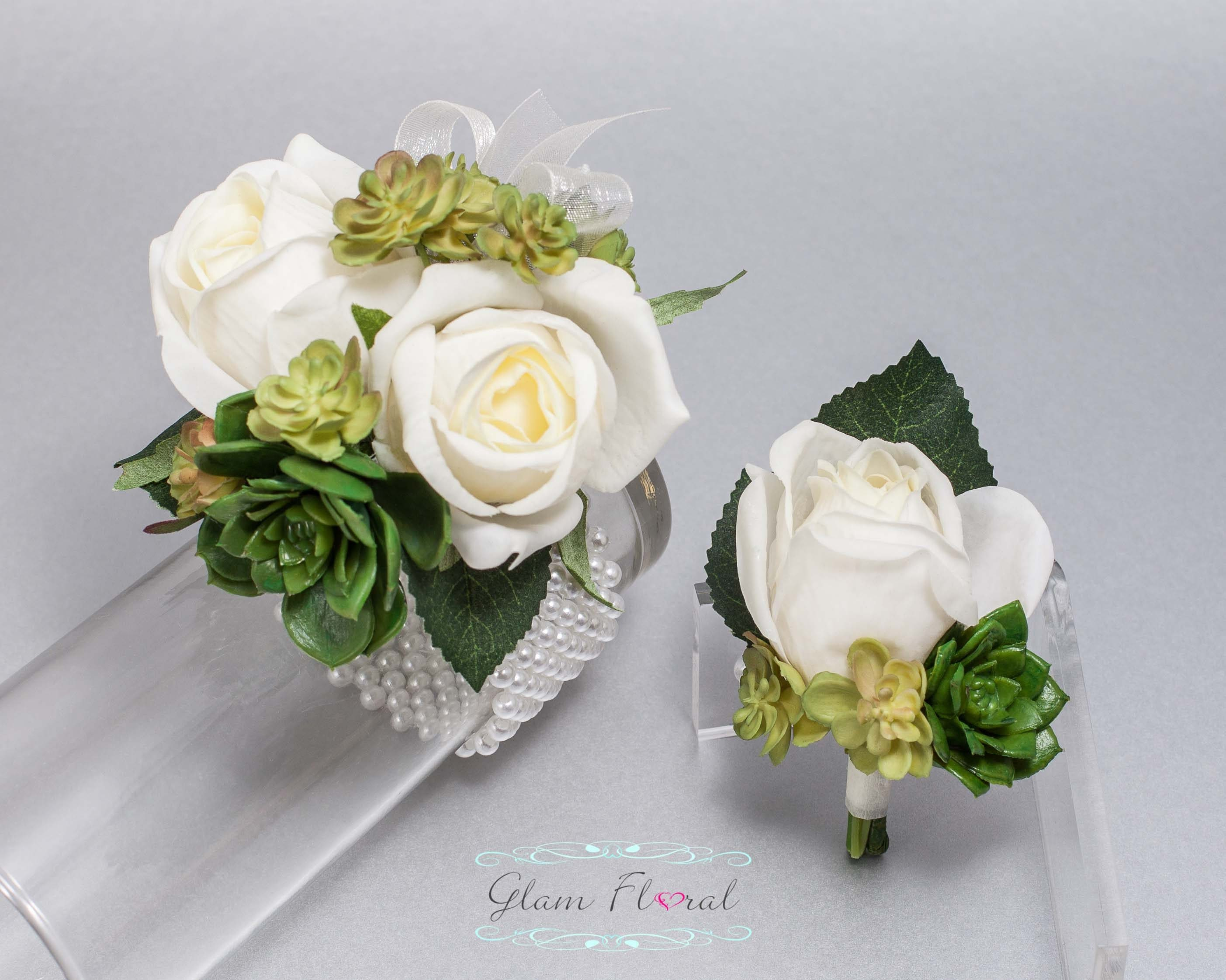Succulent Corsage And Boutonniere Set Real Touch Flowers Etsy