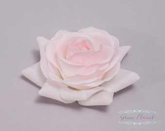 Light Pink Hair Clip. Rose Hair Flower, Real Touch Flowers, Real Touch Rose, Blush Pink Hair Flower, Baby Pink Rose Hair Flower