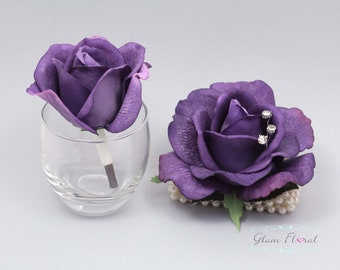 Purple Rose Wrist Corsage and Boutonniere Set. Real Touch Flowers. Caroline Rose Collection