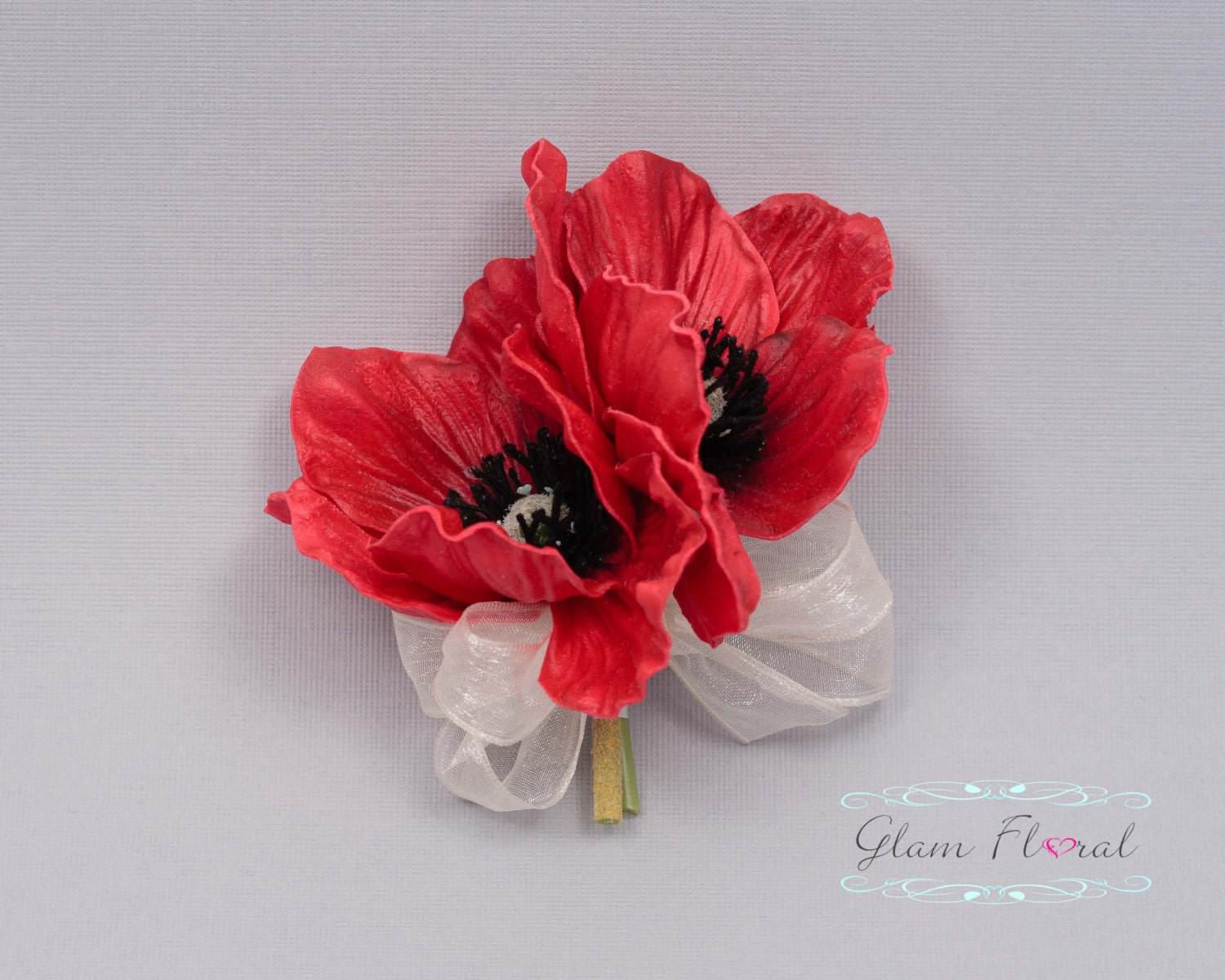 Red Poppy Pin Corsage Real Touch Flowers Etsy