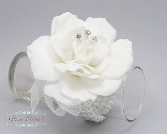Weiss Gardenia Handgelenk Corsage Real Touch Blumen Hochzeit Etsy