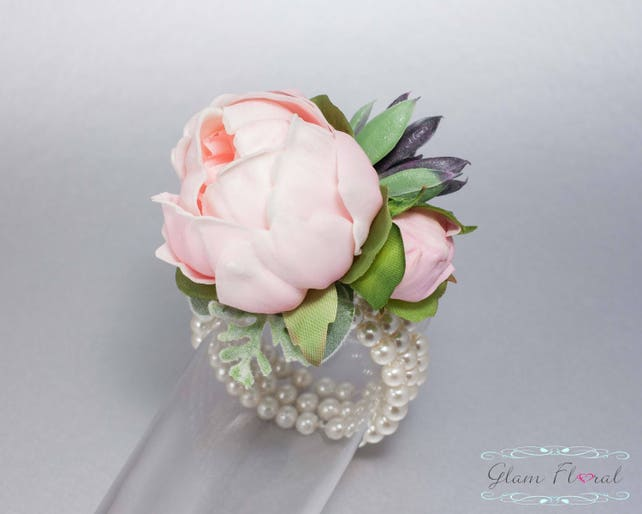 Pink Peony Wrist Corsage Succulent Real Touch Wedding Bridal Silk