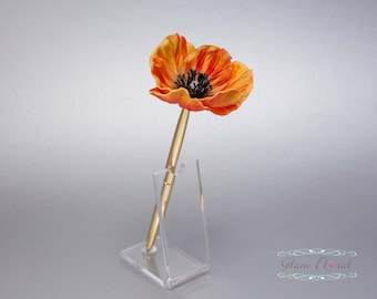 Orange Poppy Guestbook Pen. GOLD Wedding Pen Set Wedding Pen Holder Real Touch Bridal Wedding Silk Flowers. Memorial Day, Military, Canada