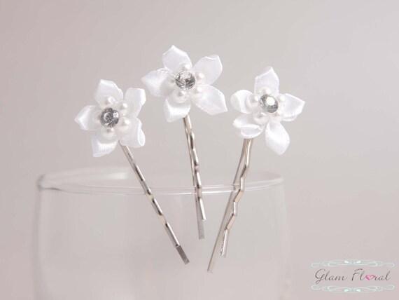 Épingles à cheveux de mariage, ensemble de 3, épingles à cheveux de mariée, épingles à cheveux, épingles à cheveux de jasmin blanc, cadeau pour la mariée demoiselle d'honneur fille de fleur de fleurs