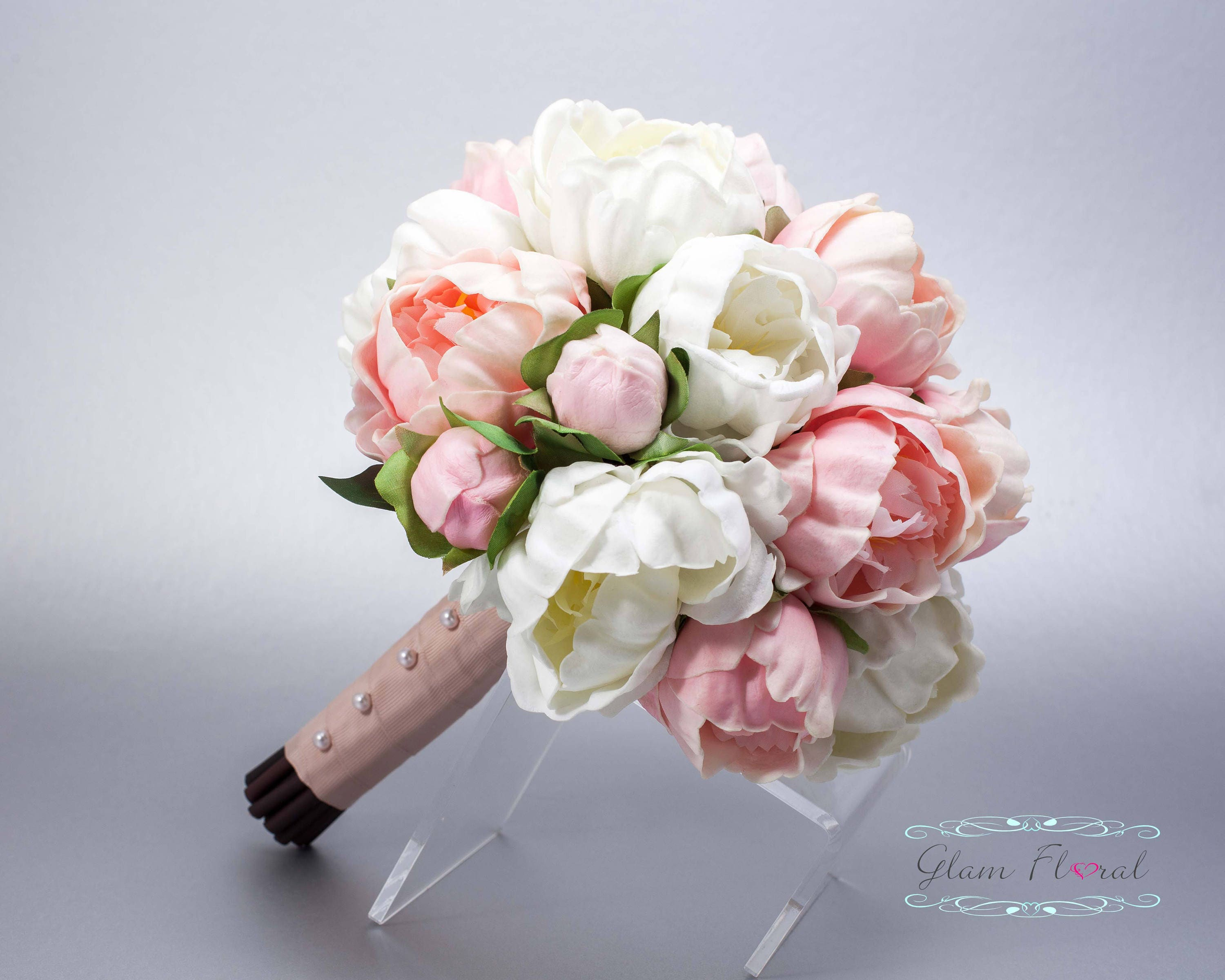 Pink White Peony Wedding Bouquet Real Touch Silk Flowers Etsy