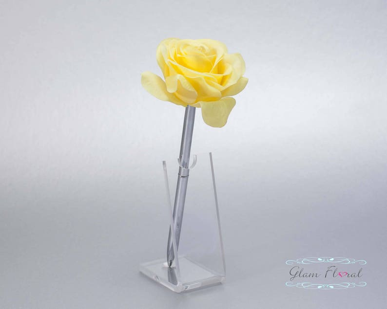 Real Touch Rose Flowers Silver Wedding Pen Set Yellow Rose Guestbook Pen Wedding Pen Holder Lemon Daffodil Yellow Tea Rose Collection