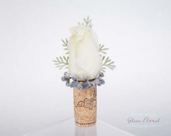 Wine Cork Boutonnieres - Winery Theme Boutonniere, Keepsake Wine Country Boutonniere, Real Touch Flowers Boutonnieres White Rose Berries
