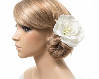 White Gardenia Hair Clip, Brooch, Pin Corsage, Fascinator, Real Touch Gardenias, Bride, Bridal Wedding Hair Clip Flower, Gardenia Collection