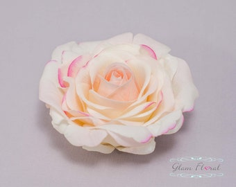 Blush Pink Hair Clip. Rose Hair Flower, Real Touch Flowers, Real Touch Rose, Cream Blush Pink Hair Flower, Light Pink Rose Hair Flower