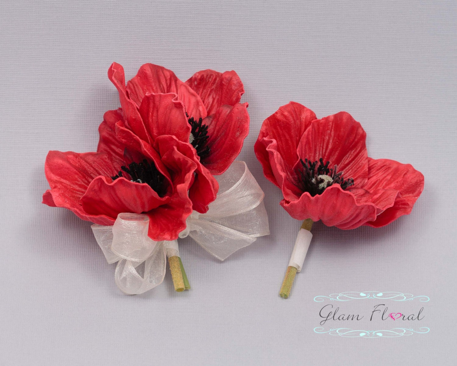 Red Poppy Pin Corsage Boutonniere Set Real Touch Flowers Etsy
