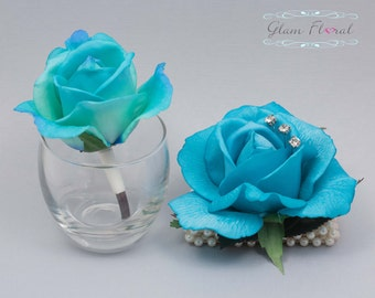 RESERVED FOR WANDA- 9 Turquoise Blue Roses on Stems, Real Touch Flowers