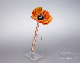 Orange Poppy Guestbook Pen. ROSE GOLD Wedding Pen Set Wedding Pen Holder Real Touch Bridal Wedding Silk Flowers Memorial Day Military Canada