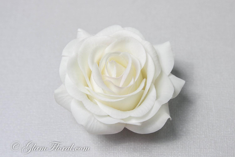 Creme White Rose Hair Clip Real Touch Wedding Hair Fascinator Hair