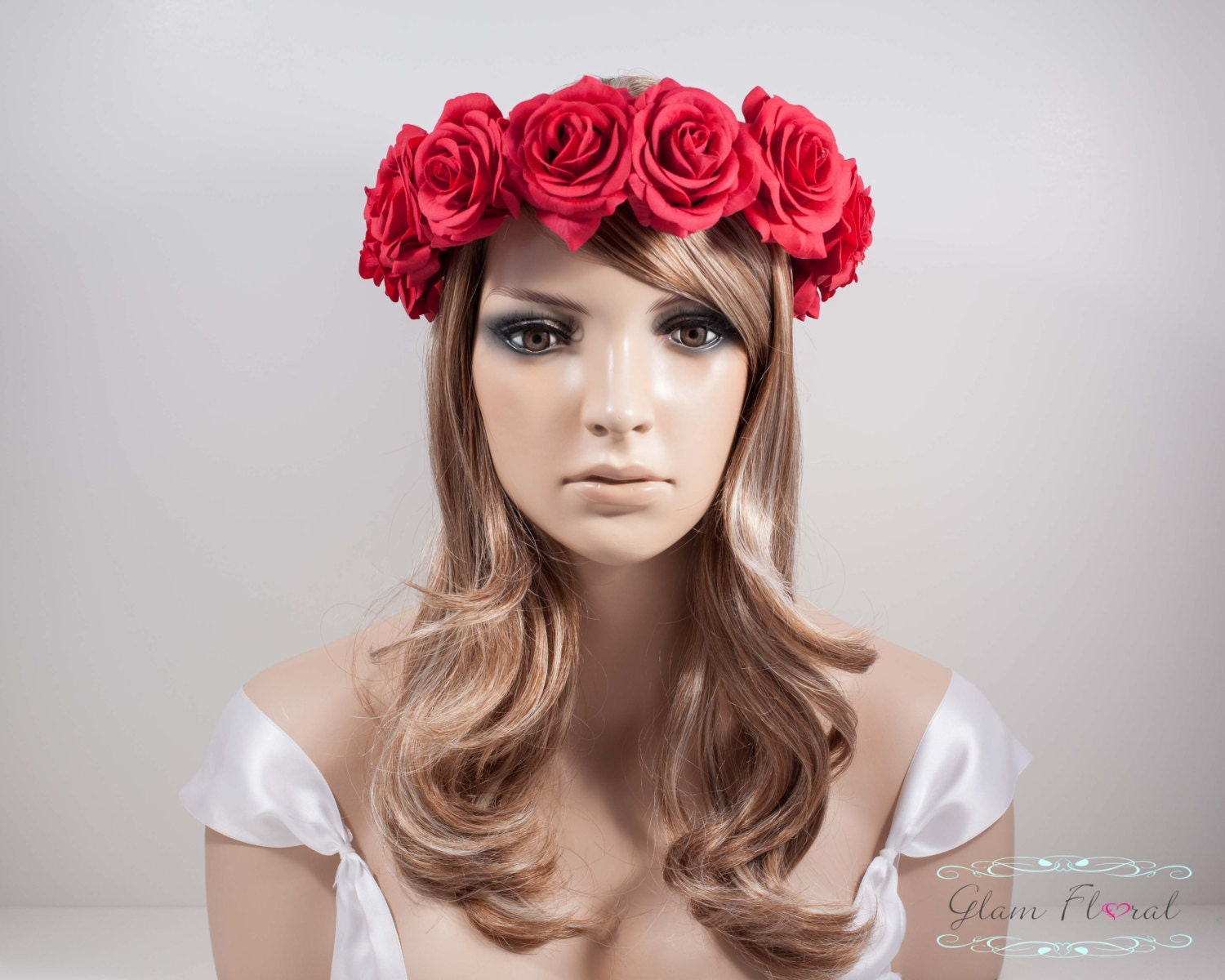 Red rose flower crown real touch red roses dirndl etsy zoom izmirmasajfo