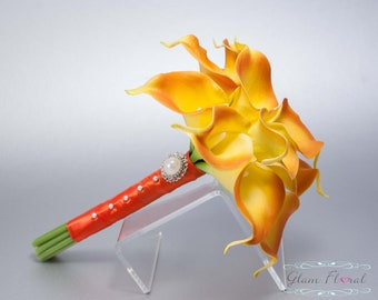 Orange Calla Lily Wedding Bouquet - 12 Real Touch Calla Lilies, Small Bridal Brides Bouquet, Bridesmaid. Sienna, Persimmon, Mini Calla Lily