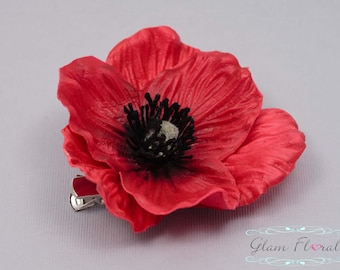 Red Poppy Hair Clip . Real Touch Flowers