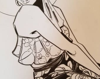 Flower Pants, Original Black and White Ink Drawing, Original Art, Wall Art, One Of A Kind, Affordable Art, Wall Decor, Pinup, Ink