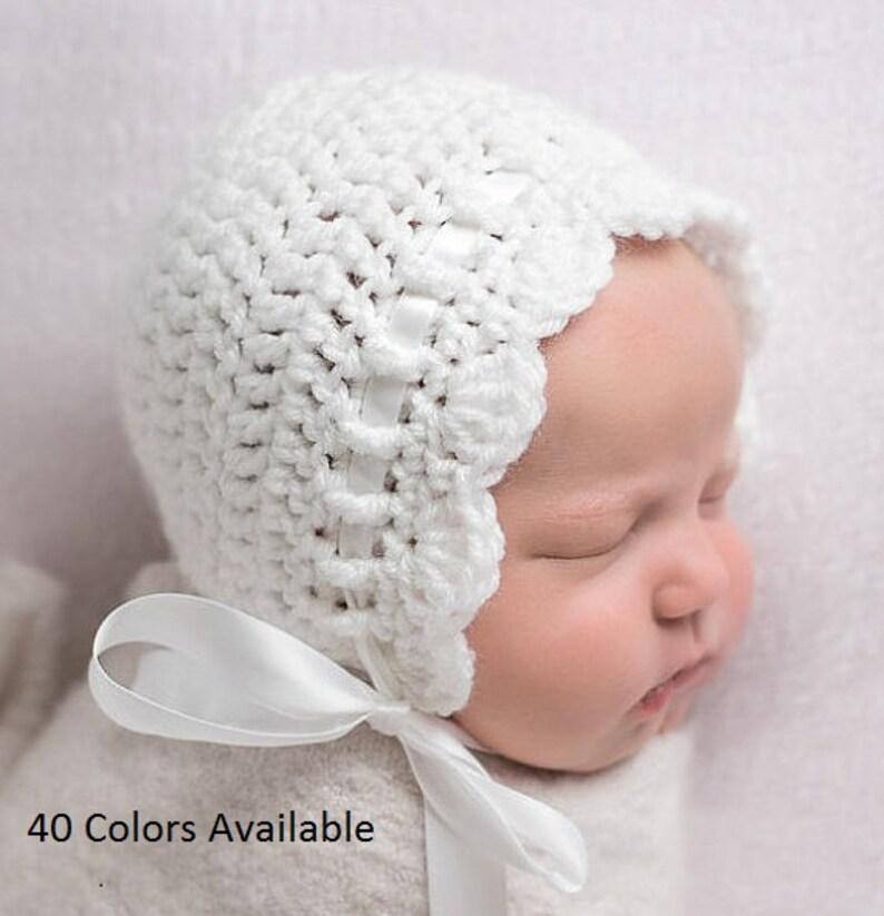 6832fe2777666 White Baby Bonnet - Baby Girl Bonnet - Crochet Hat - Coming Home Outfit -  Baby Girl Crochet Hat - Newborn Girl Bonnet- Infant Girl Bonnet
