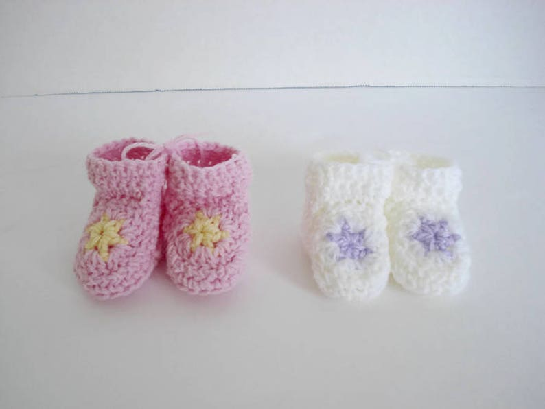 900cf8ac12ae0 Purple and White Pastel Star Booties Matching Set of 2 Great for Preemie  Premature Twin Girls Little Infant Early Babies