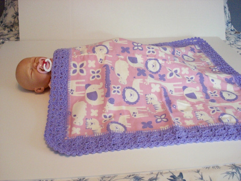 689c20b12d594 Preemie Baby Premature Pink Purple Jungle Animals Soft Flannel Baby  Receiving or Nursing Blanket with Purple Crocheted Edge Baby Infant Girl