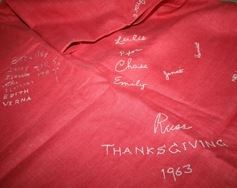 Charming Holiday Table Cloth Signed Embroidered Friendship 1960s Mid Century
