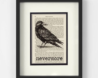 Nevermore over Vintage Edgar Allan Poe Book Page - Edgar Allen Poe, Poe Git, Quoth The Raven Nevermore, Halloween, Edgar Allan Poe, Raven