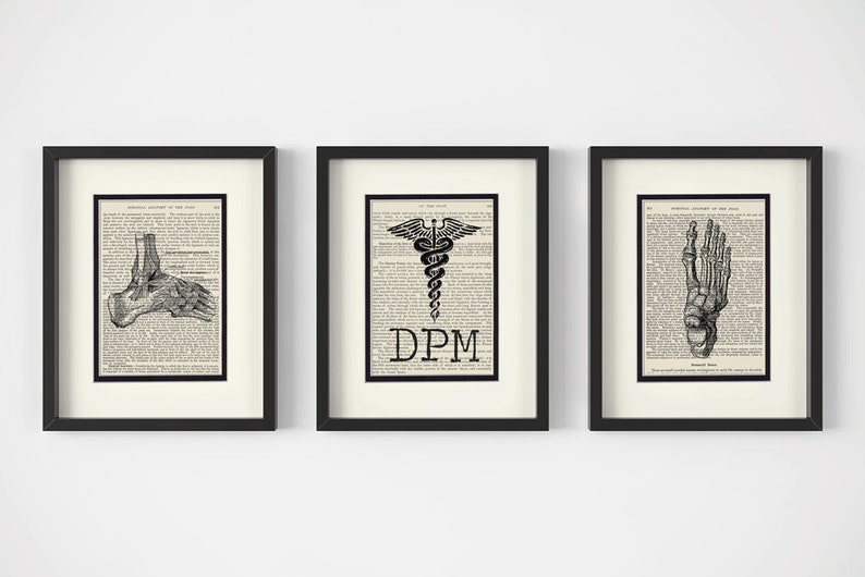 Ankle Podiatrist Gift Podiatry Graduation Gift /& Office Decor DPM and Foot Vintage Anatomy Book Page Art Print Set of 3