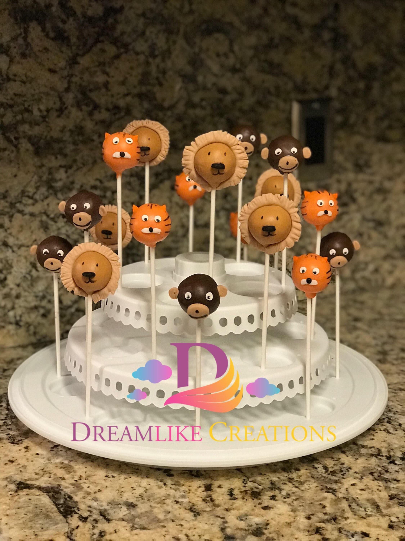 Cake Pops 12 Animal Cake Pops Zoo Animal Cake Pops Lion Etsy